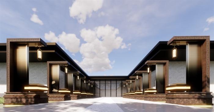 中式售楼部su模型示范区(3)