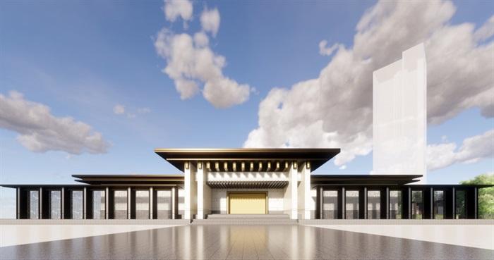中式售楼部su模型示范区(4)
