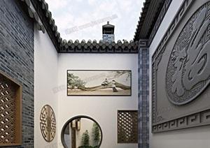 中式庭院效果图全套3D模型