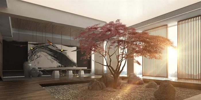 中式庭院阳台茶台组合3D模型ID:305326(1)