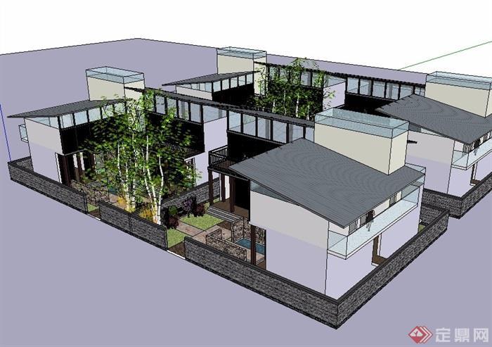 中式四合院住宅建筑设计su模型[原创]