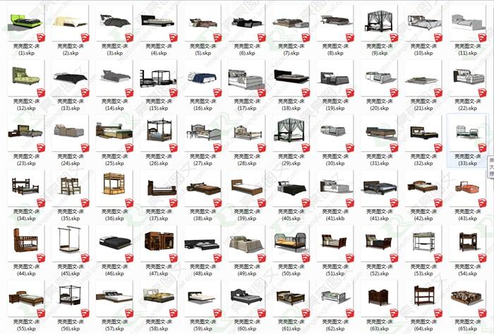 床合集130套精选su模型