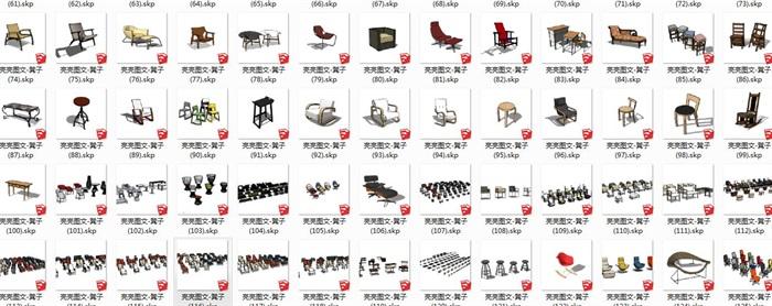 凳子140套精选su模型