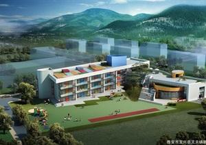 某县灵关镇新城区幼儿园规划设计jpg、ppt方案