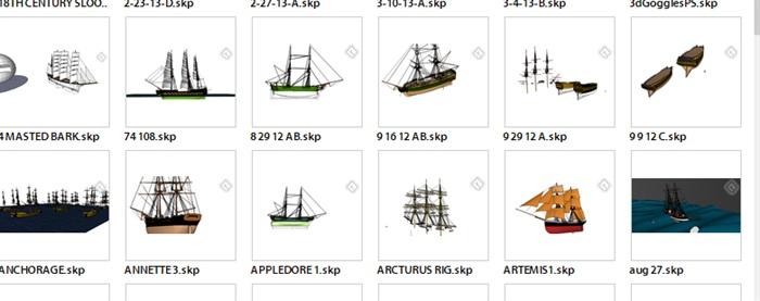 船合集详细设计su模型