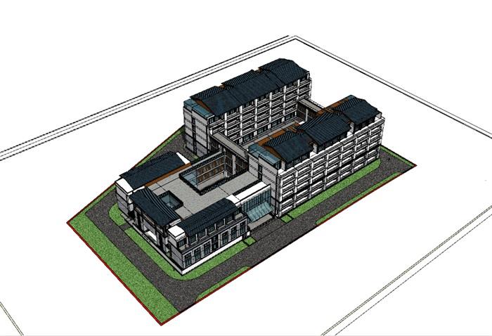 敬老院设计方案 中标 现代中式模型(2)