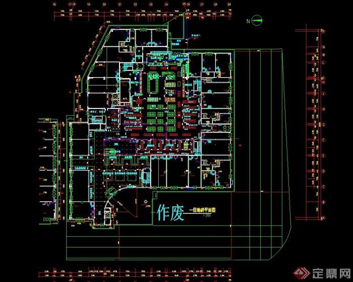 现代多层超市建筑设计cad平面图[原创]广告设计v多层单图片