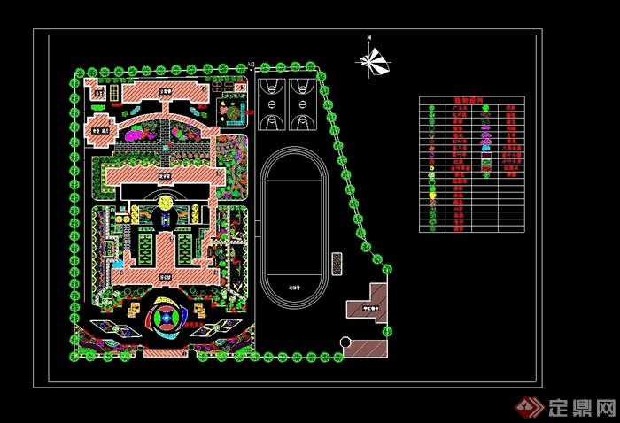 现代校园绿化规划设计cad平面图[原创]图片