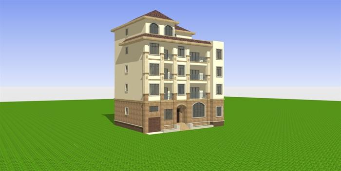 欧式别墅方案设计(含建筑施工图和su模型)[原创]