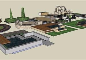 景墙、铺装、花池景观素材SU(草图大师)模型