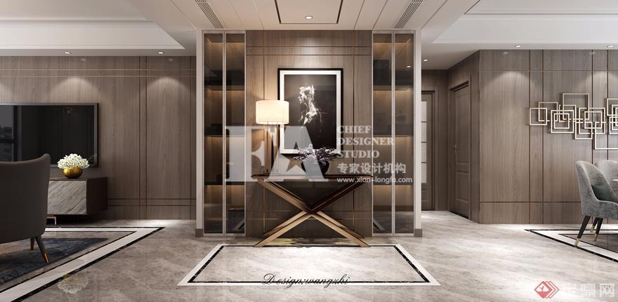 客厅 入户门端景墙 现代简约风格 装修效果图 建邦华庭 150㎡