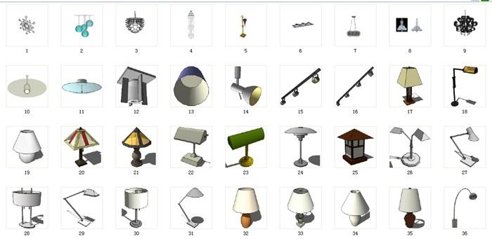 燈飾89套合集套合集精細su模型(1)