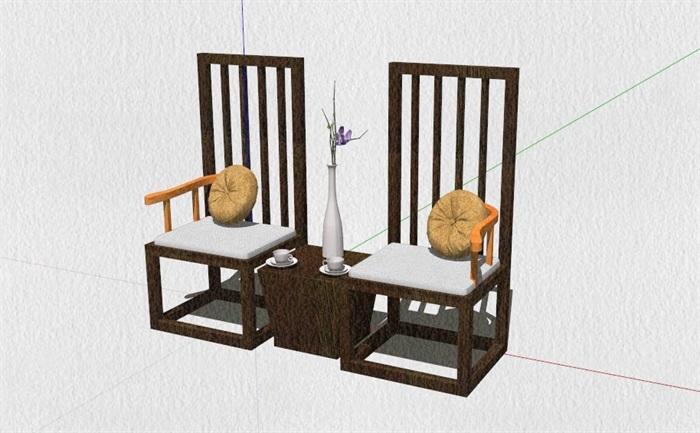 新式的中式家具23套合集精細su模型(9)