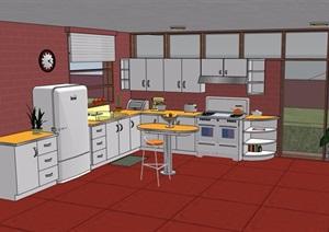 某住宅室内厨房设计SU(草图大师)模型
