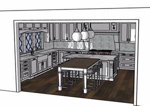 欧式风格餐厅空间SU(草图大师)模型