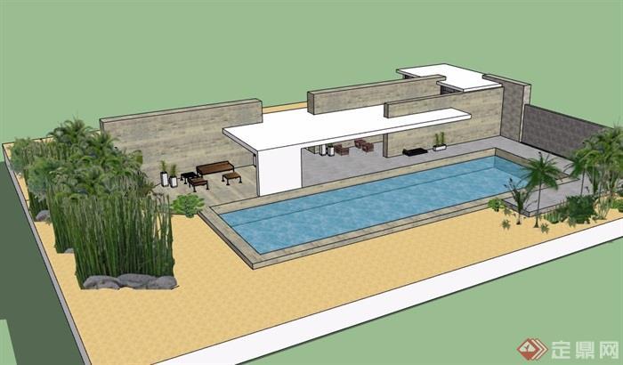 某现代简单的休闲建筑设计su模型[原创]