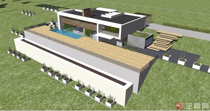 简约坡地别墅建筑色v坡地su别墅[原创]科维奇模型亚努价格图片