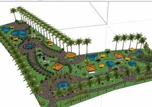 现代休闲公园景观SU(草图大师)模型