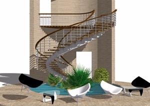 某现代建筑楼梯SU(草图大师)模型