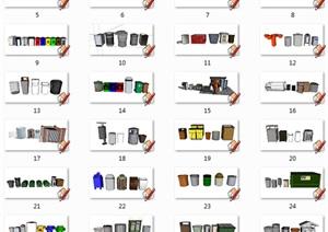 46个景观室外垃圾桶垃圾箱设计SU(草图大师)模型