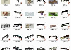 587个模型花架廊架凉亭景观SU(草图大师)模型