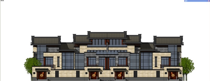 中式聯排別墅su精細模型(1)