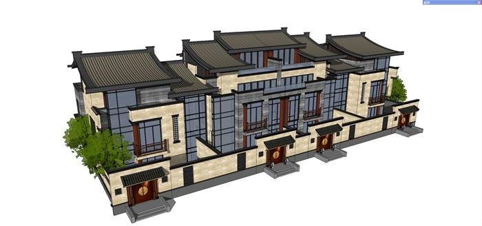 中式聯排別墅su精細模型(3)