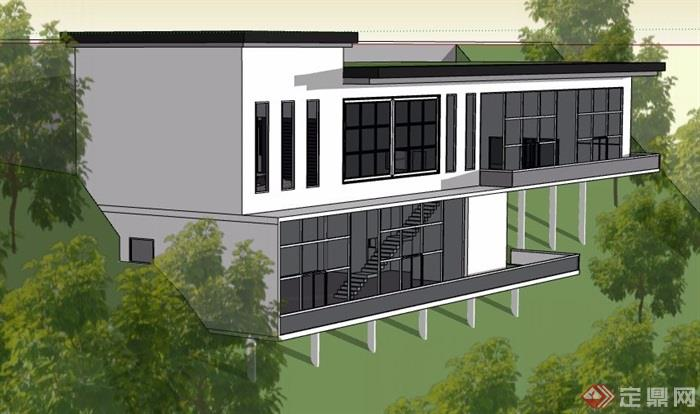 现代简约别墅v别墅城市原创su方案[建筑]坡地滨水景观设计模型图片