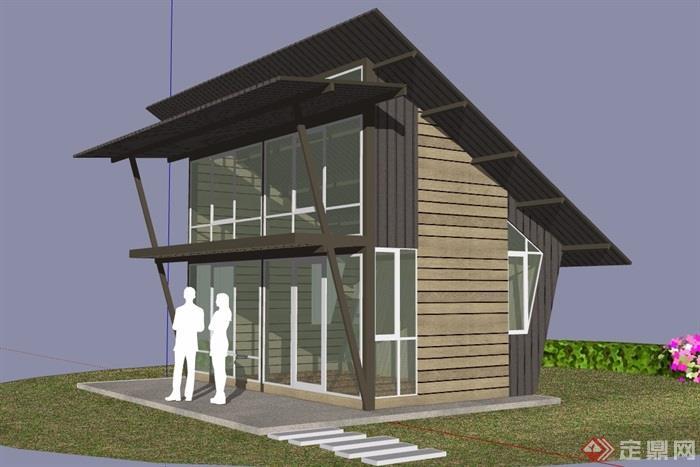现代风格两层住宅别墅设计su模型[原创]