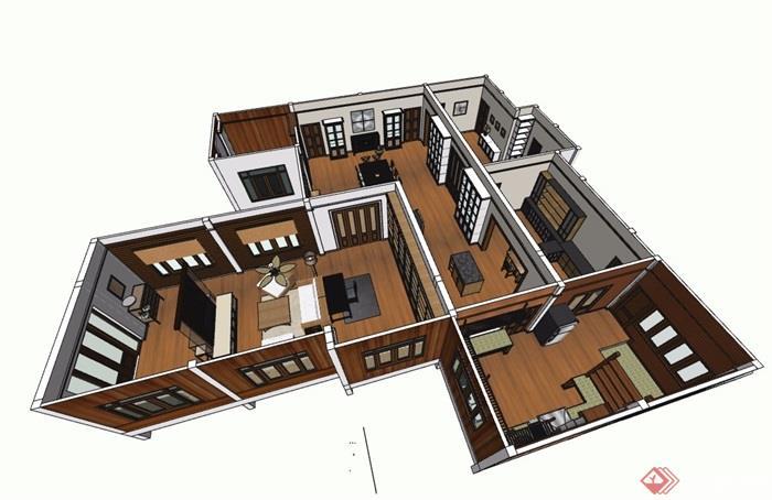 现代风格详细的住宅室内空间有什么可以免费领红包su模型[原创]