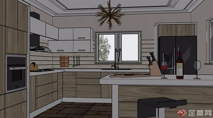 现代风格详细住宅室内厨房设计su模型[原创]