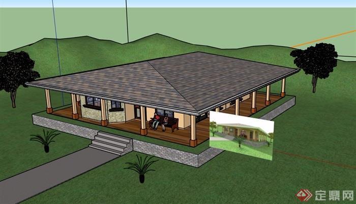 欧式单层住宅别墅素材设计su模型[原创]