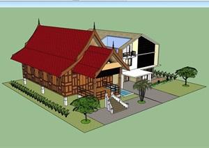 两个详细的多层别墅设计SU(草图大师)模型