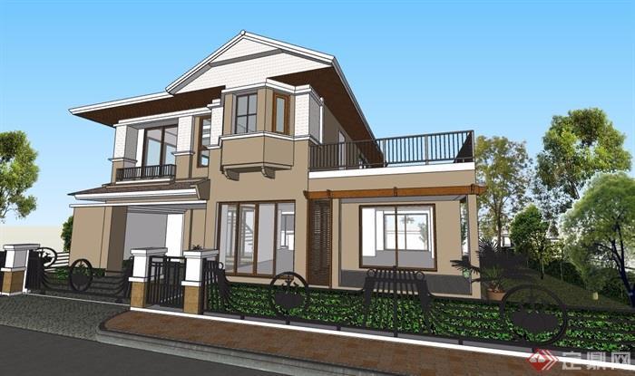 欧式风格详细经典的别墅建筑su模型[原创]图片