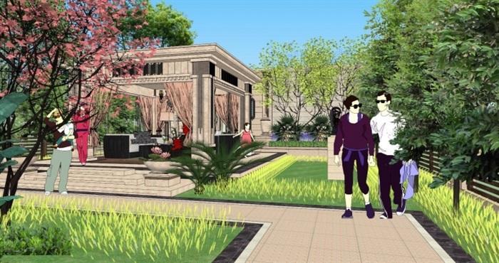 欧式别墅庄园小庭院景观方案su模型[原创]