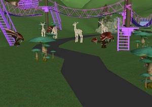 现代儿童野营扩展基地SU模型