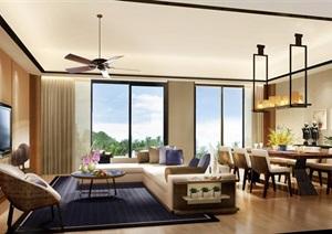 上海某小区项目洋房A户型样板间室内装饰CAD与效果图