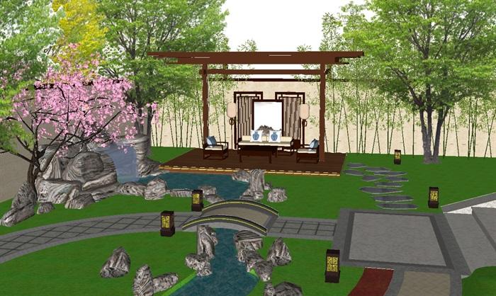 新中式别墅庭院景观方案su模型[原创]