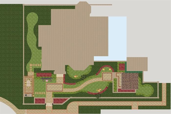 欧式别墅前庭院景观方案su模型[原创]