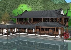 古典中式滨湖公园水榭方案SU(草图大师)模型