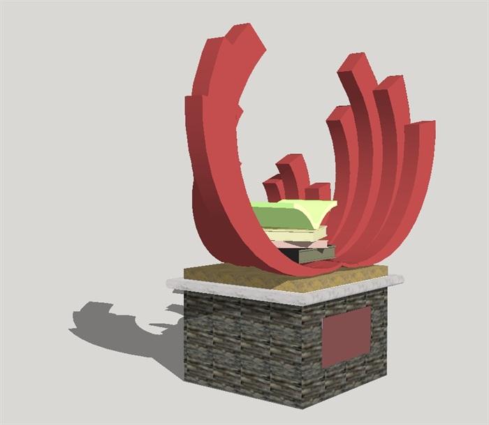 七组现代抽象雕塑小品su模型[原创]