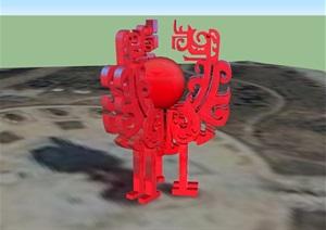 古典中式风格详细完整小品雕塑设计SU(草图大师)模型
