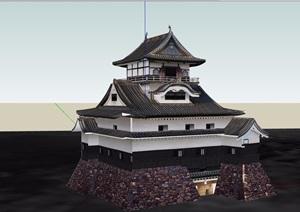 详细的日式风格寺庙建筑SU(草图大师)模型