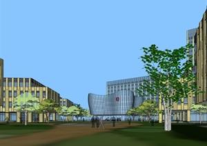 现代风格产业园办公SU(草图大师)精细模型