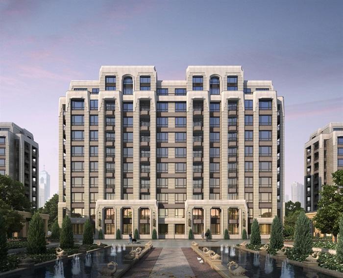 新古典风格特点住宅楼建筑设计su场景糖果[原高层vi设计设计模型
