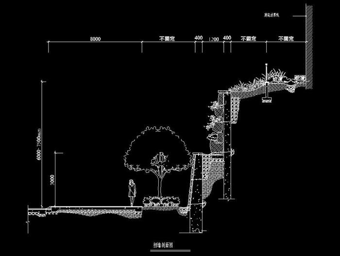 多套园林创意景观挡土墙大样施工图cad(4)