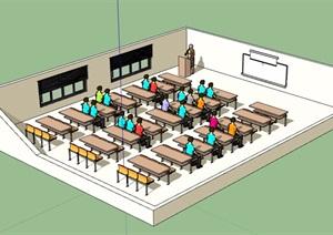 现代教室室内SU(草图大师)模型