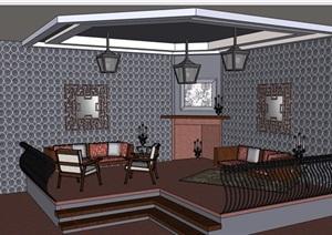现代独特住宅客厅室内SU(草图大师)模型