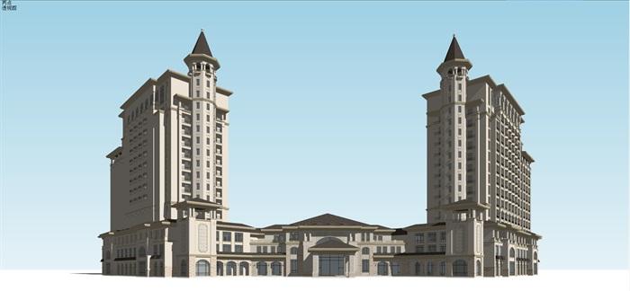 某西班牙风格酒店su精细模型(1)