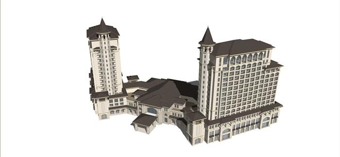 某西班牙风格酒店su精细模型(2)